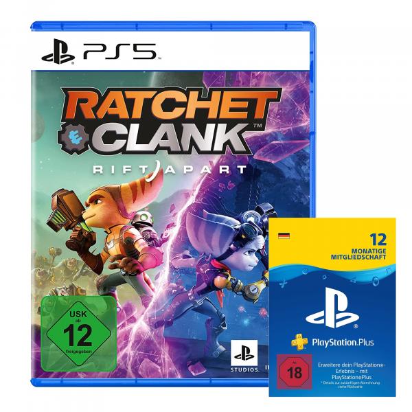 Playstation 5 Spiel Ratchet & Clank + 12 Monate PlayStation Plus Mitgliedschaft